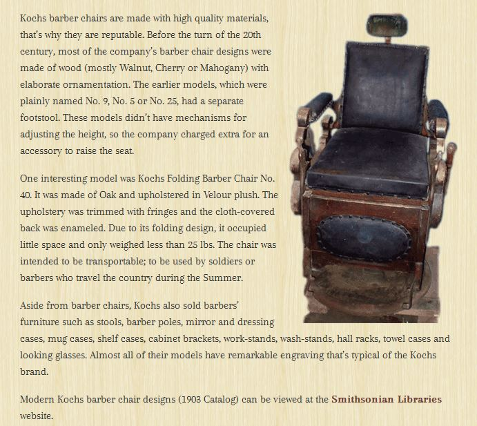Theo A Kochs Barber Chair 1920s For Larger Image